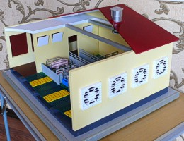 Scale model (maquette) of the pig farm automatization