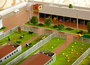 The farm layout shows a walkway