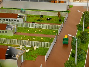 On the farm layout is shown a house