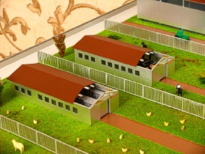 On the farm layout is shown a haymaker with imitation hay