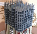 A scale model of the building structure